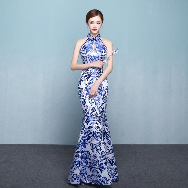 Azul Branco Porcelana Cheongsam Sexy Oriental Vestido de Casamento Asiático Qipao Vestidos de Festa À Noite Retro Vestindo Vestido Plus Size 3XL