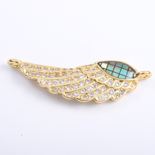 Singreal Abalone Shell Micro Pave Wing Charms Bracelet necklace Choker Pendant connectors for women DIY Jewelry making