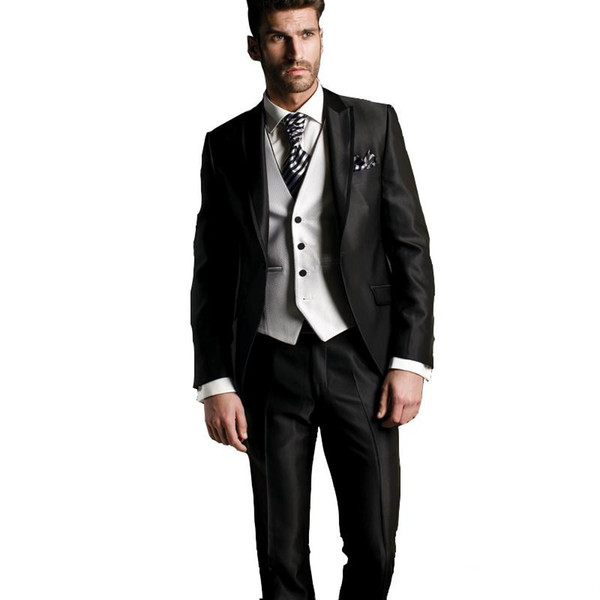 handsome one button groomsmen peak lapel groom tuxedos men suits wedding/prom/dinner man blazer(jacket+pants+tie+vest) 926, Black;gray