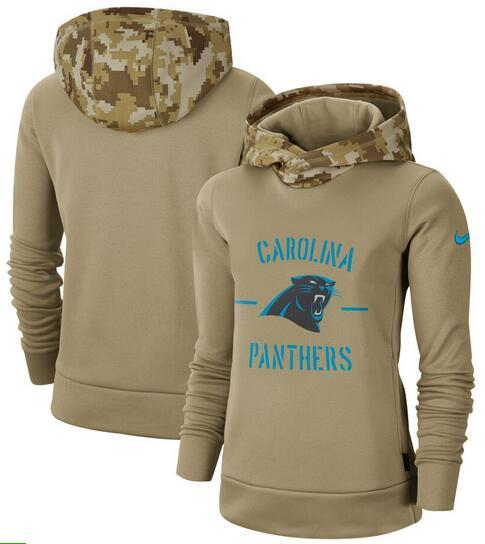 Carolina Women's Panthers Khaki 2019 Salute to Service Therma Pullover Hoodie