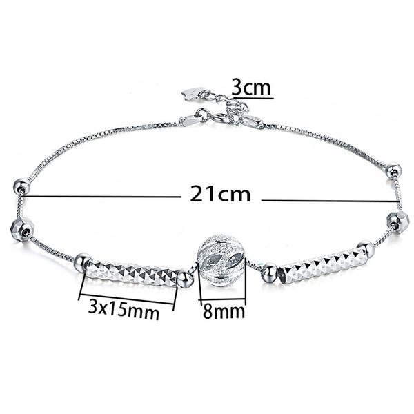 Nuevo 925 cuentas de plata esterlina tobilleras para mujer señora regalo 21 cm + 3 cm largo tobillera pulsera joyería de moda cadena de pie joyería