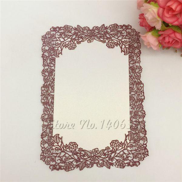 Compre 12x17cm Corte Por Láser De Rose Diseño Delicado Invitación De Papel De La Boda De La Tarjeta Del Menú Tabla Para Imprimir En Blanco Para