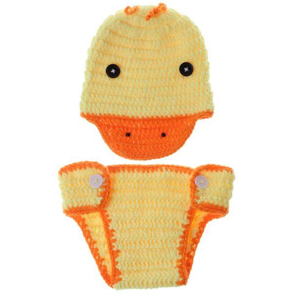 1 Satz Baby Foto Kostüm Hut Hosen Geflochtene Handgemachte Gelbe Ente Lustige Fotografie Neugeborenen Cosplay Häkeln Requisiten Elastische Jungen / Mädchen