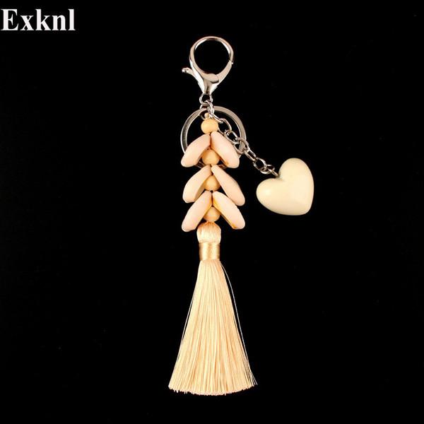 Exknl hechos a mano Shell Corazón borla llavero accesorios encanto colores Colgante llavero llavero titular de la joyería regalo para las mujeres de Moda
