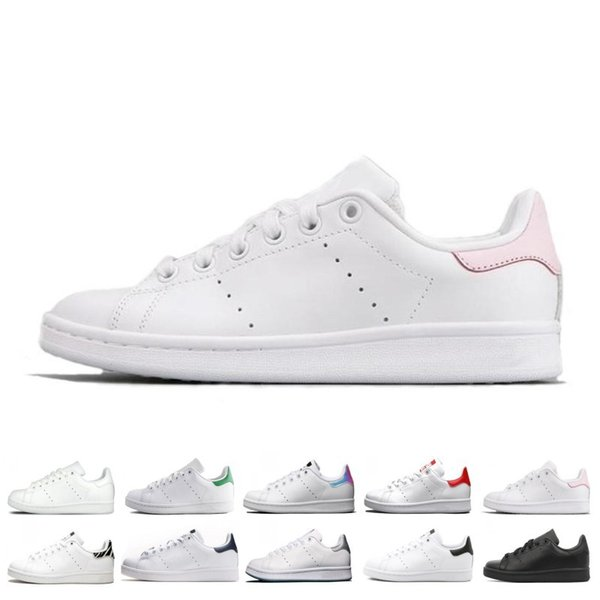 Popular New smith men women stan shoes black white red blue silver pink smith sneakers Casual shoes leathe size 36-44