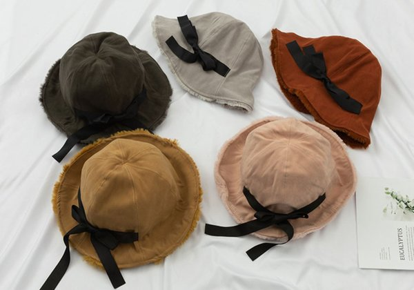 Autumn Winter Plus Velvet Fisherman Hat Ladies Bow Thickening Warm Basin Student Hat Ear Protector Solid Color