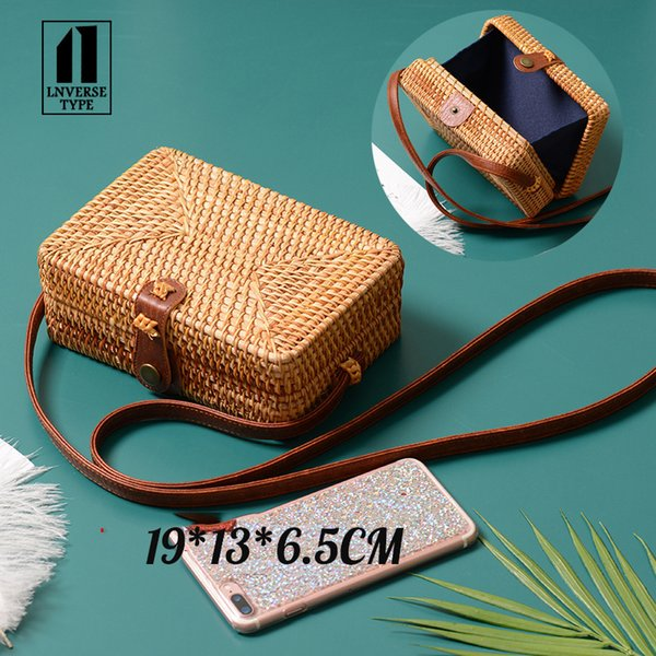 2019 Round Straw Bags Women Summer Rattan Bag Handmade Woven Beach Cross Body Bag Circle Bohemia Handbag Bali Lowest Price Hot Y19061204