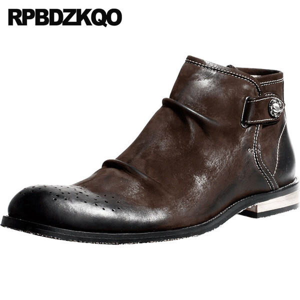 Hecho a mano retro de grano completo diseñador formal para hombre vestido de cremallera botas marrón Brogue botines tobillo de lujo zapatos de cuero genuino