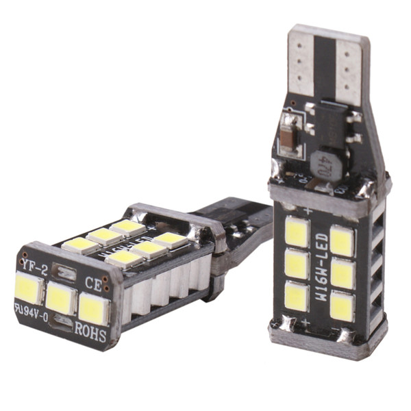 Car 10pcs Canbus w16w T15 Canbus 15 SMD 2835 LED no error Interior Reverse Light Car Light Source brake lamp 12V white/Amber