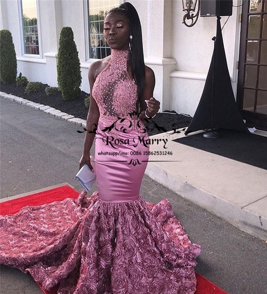 Pink 3d Floral Mermaid African Prom Dresses 2k19 High Neck Lace Appliques Sequined Beaded Plus Size 2019 Girls Pageant Formal Evening Gowns China Prom