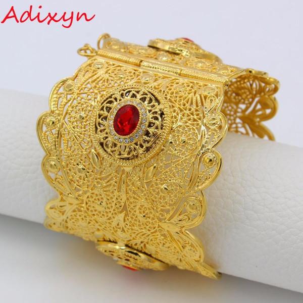 Adixyn 72MM Big Bangle Women Gold Color Dubai Style Jewelry Luxury African Wedding Bracelets W Stone Arab Middle East N13012