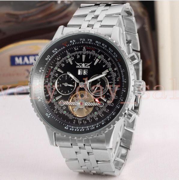 Jaragar Tourbillon Relogio 45mm Automatico Masculino Watches Men Full Steel Wristwatch mens watch top brand luxury flywheel gift box 116610