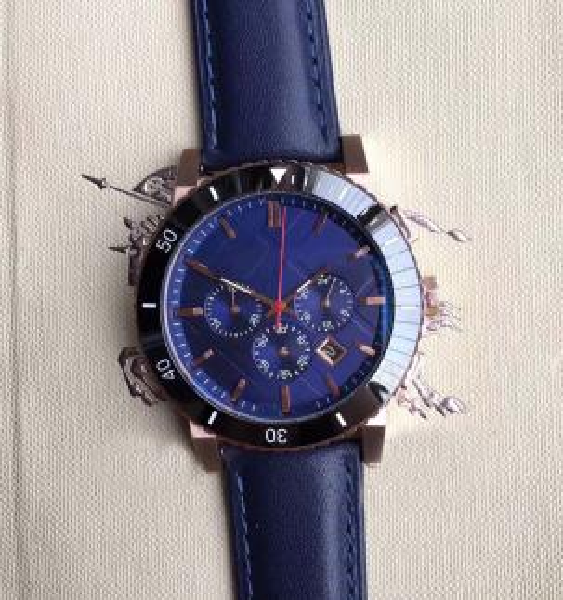 New Desigh 42MM British Style Dress Mens Watches Quartz Battery Chrono Men Watch Gold Case Blue Leather Strap Wriswatches