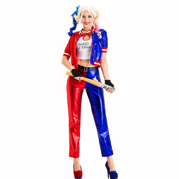 2019 Halloween Abbigliamento Donna Clown Suit Cosplay 3Pcs Harley Quinn costumi di alta qualità di formato S-XXL