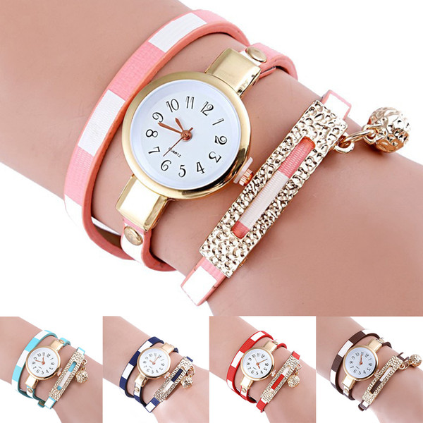 Alloy Women Watch PU Leather Charm Ladies With Ball Pendant Exquisite Winding Classic Easy Gift Quartz Fashion Bracelet
