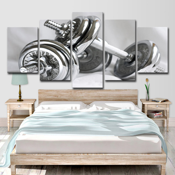 5 Piece Canvas Painting Wall Art Gym Dumbells Poster Fitness Equipment Home Decor Wall Pictures for Living Room