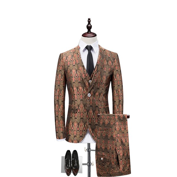 Mens Figured Suits Men Single Breasted 3 Piece Suits Club Outfits Men Tuxedo Jackets Social Terno Slim Fit men Blazer jacket pant vest