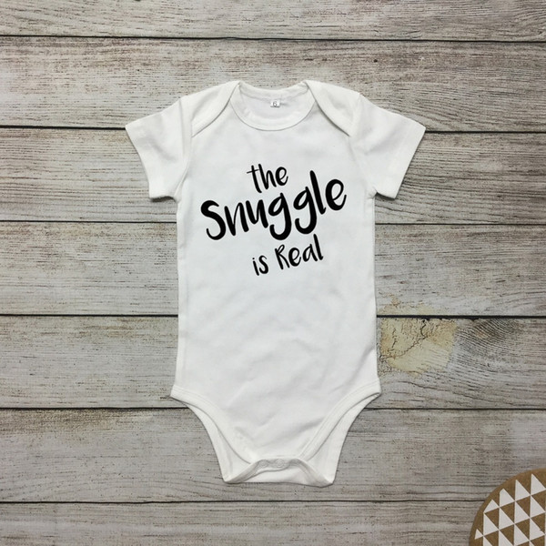 best selling Cute Baby Onesies Newborn White Bodysuit Infant The snle is real Letter print Cotton Baby boy Girl clothes 2019 Summer Cheap Wholesale