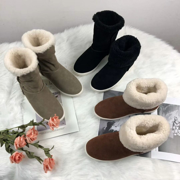 ZX The new European style luxury Ladies Boots real Leather Motorcycle more color Boots pure stars decorative Warm boots hair inside Fashion