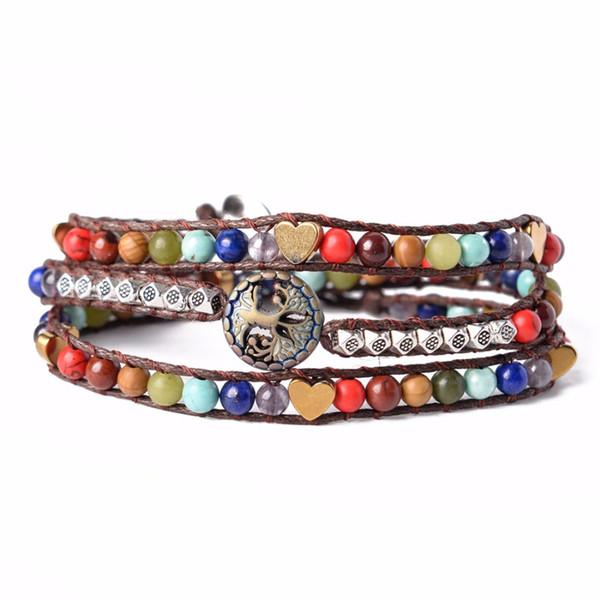 Pulsera Joyería Pulsera Envoltura hecha a mano Árbol de la vida Multi color Perlas de cristal de repuesto Pulsera de piedra natural