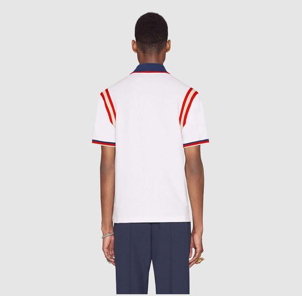Polo Hombre Camiseta 2018 impresión de la moda de manga corta del ajustado de la medusa camisetas Hombres Robin Marca Polos Tops con bordado abeja Polos Casual