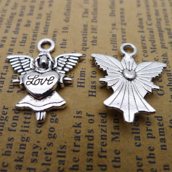 100pcs 20*24mm Antique tibetan Silver love angel fairy charms for bracelet vintage alloy metal pendants diy jewelry making ornament
