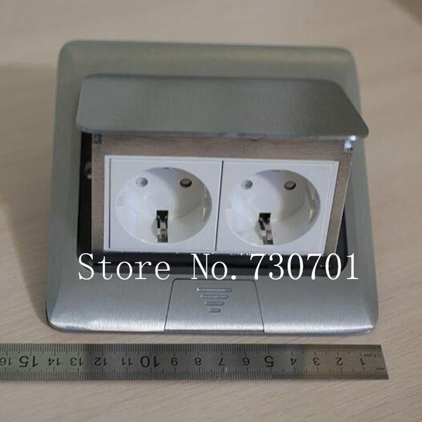 (Ship from RU) Aluminum Silver Panel EU Standard Pop Up Floor Socket Electrical Outlet /Ground Socket 2pcs/set Free Shipping