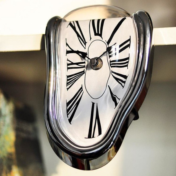 Retro Distorted Melting Clock Mute Movement Right Angle Wall Clocks Novelty Irregular Hanging Timepiece zhao
