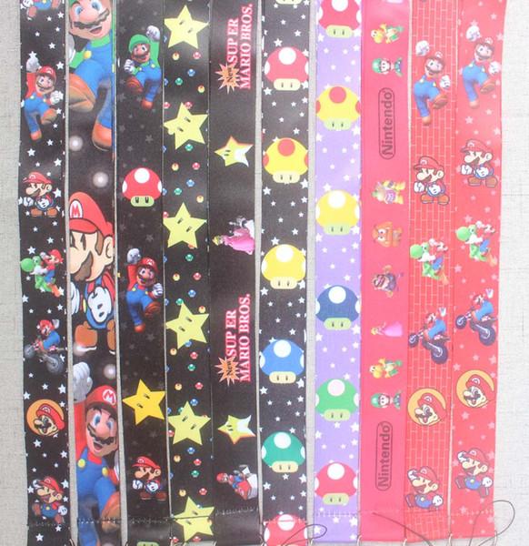 10 PCS MIX Super Mario chave colhedores ID crachá titular chaveiro correias para o telefone móvel Frete Grátis