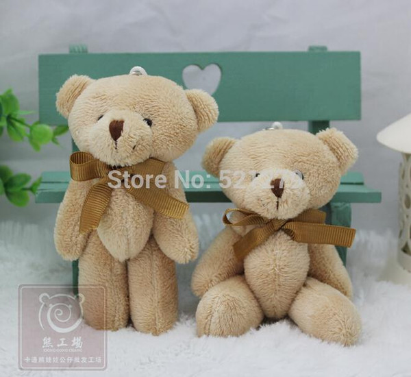 Wholesale- T108 Free shipping 24pcs/lot Promotion 12CM bow tie brown teddy bear mini joint plush keychain bear bouquet toy/phone pendant