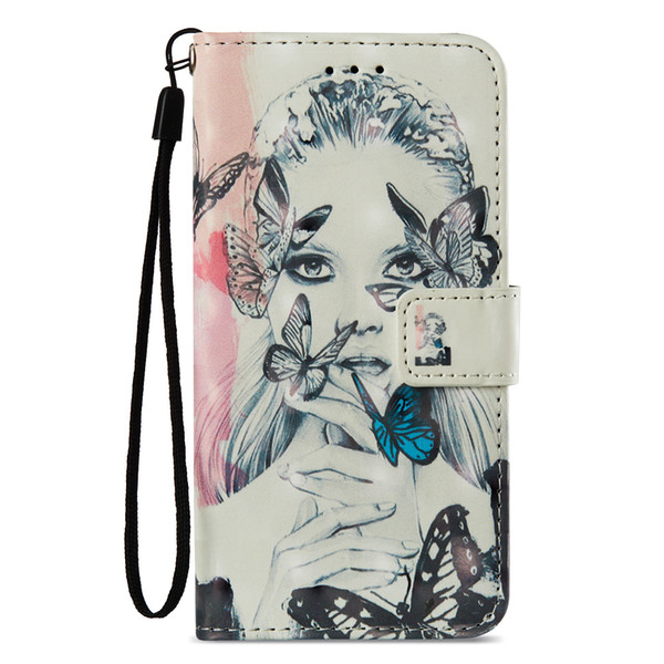 Painted Butterfly girl leather flip case for iphone 6 6s 7 8 plus x xr xs max with Credit card slot wallet shockproof case