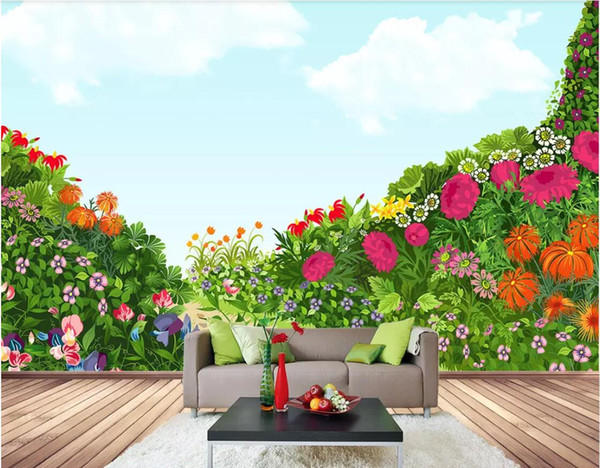 3d Wallpaper Custom Photo Hand Painted Flowers Nature Landscape Floral Background Wall Decoration Painting Mural Photo Wallpaper Photo Wallpaper Image