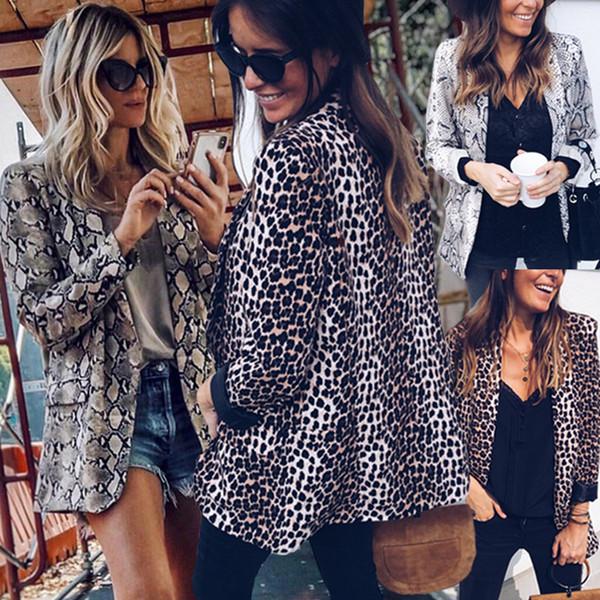 2019 Nova Primavera Outono Sexy Leopard Blusa de Manga Longa Blazer Moda Cobra Padrão Elegante Streetwear Blazer
