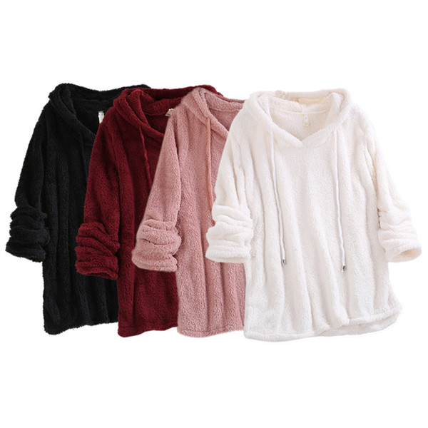 casual sweatshirt women ladies solid color fashion concise long sleeve hoodies double-faced velvet sweatshirt coat droppingship