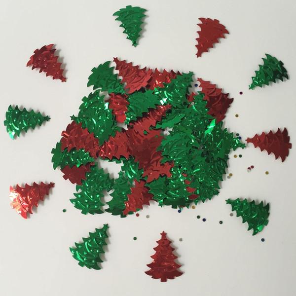 15g Vermelho Verde Foil Polvilhe Árvores De Natal Confetti Festa de Casamento Scrapbooking Tabela Scatters Festival Comemoração Decorações