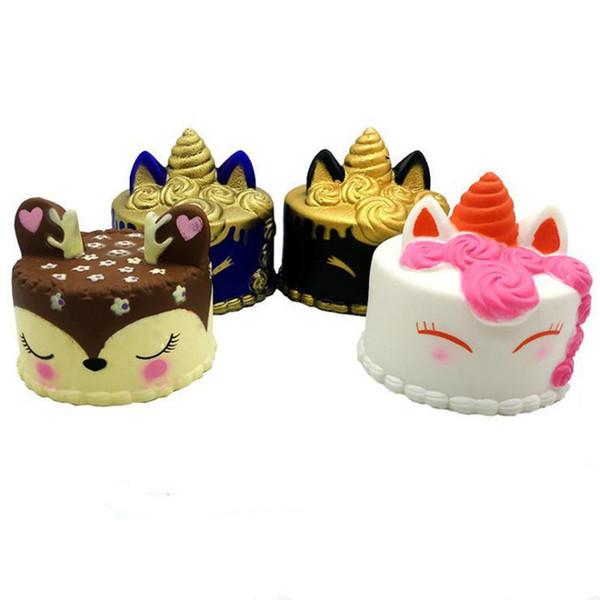 Free DHL squishy CutePink unicorn Toys 8-12CM Colorful Cartoon Unicorn Cake Tail Cakes Kids Fun Gift Squishy Slow Rising Kawaii Squishies