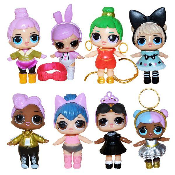 9CM Dolls with feeding bottle American PVC Kawaii Children Toys Anime Action Figures Realistic Reborn Dolls for girls 8Pcs/lot kids toys