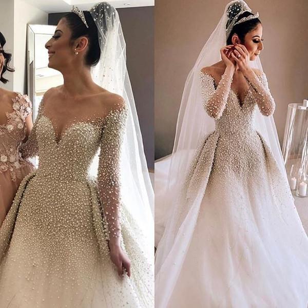Árabe Sheer Mangas Compridas Tulle A Linha De Vestidos De Casamento 2019 Frisado Pérolas Ruched Tribunal Trem Vestidos De Noiva Do Casamento