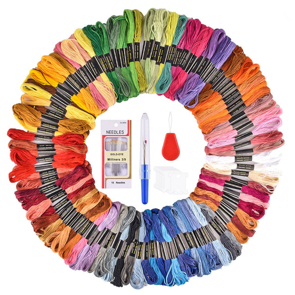 50/100 Colors Embroidery Thread Floss Cross Stitch Thread Pen Needle Hoop Kit DIY Sewing Fabric Skeins Craft Set Accessories