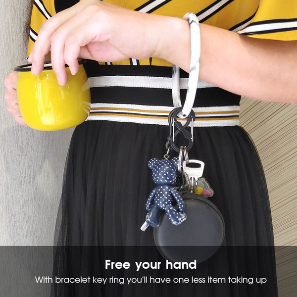 2019 New Fashion Mix Color Silicone Bangle Key Ring Wrist Keychain for Gym, Pool And Outdoor Sports (Circle Wristband)
