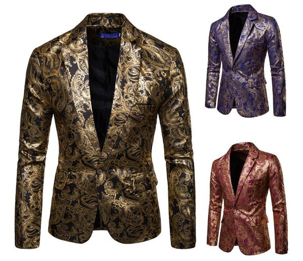 European and American men's fashion suits bright face hot stamping suit suits groomsmen dress costumes