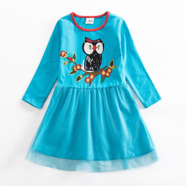 Sonbahar Yeni Kız Elbise Pamuk Uzun kollu Elbise Hayvan Işlemeli Desen Kırmızı Mavi Prenses Çocuk Giyim için