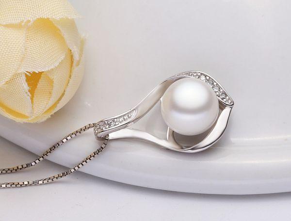 Mode coréenne S925 pendentif perle en argent sterling, perle simple d'eau douce