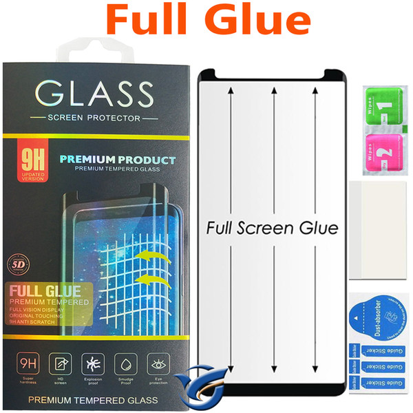 Full glue curved gla for am ung galaxy 10 9 plu 8 8plu note8 note9 5d curved edge full cover tempered gla phone creen protector