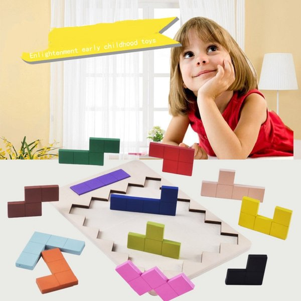 Intellectual wooden Tetris color blocks to cultivate children's logical thinking to develop imagination and change game toys