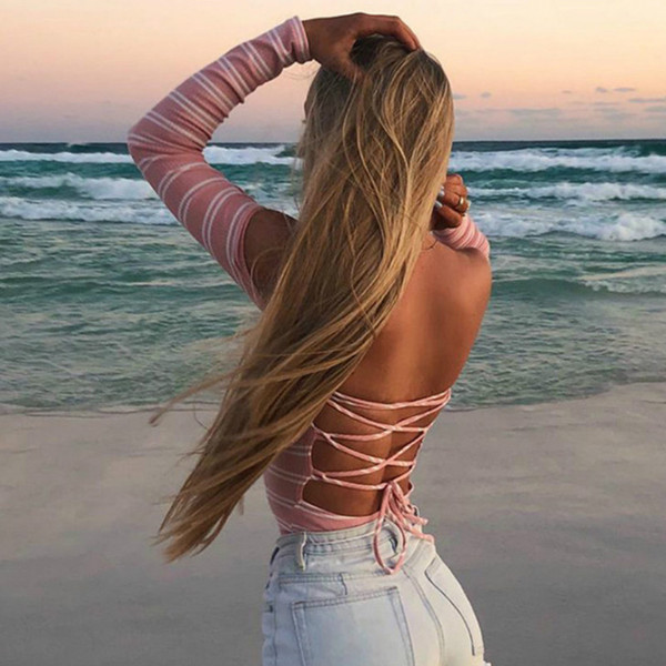 Backless Lace Up Bodysuit Women Striped Off Shoulder Bodysuits Slim Sexy Hot Long Sleeve Pink Jumpsuits Spring Autumn Rompers
