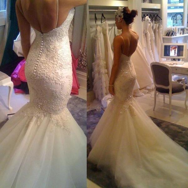 2019 New Sexy Spaghetti Lace sereia vestidos de casamento Applique lantejoulas aberto de volta tribunal vestidos de casamento do trem Vestidos de noiva Custom Made