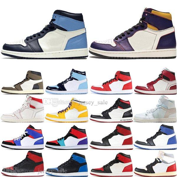 Hot 1 Alta OG Travis Scotts Cacto Jack UNC Spiderman Mens sapatos de Basquete 1 s Top 3 Projetado Bred Toe Homens Sports Designer Tênis tênis