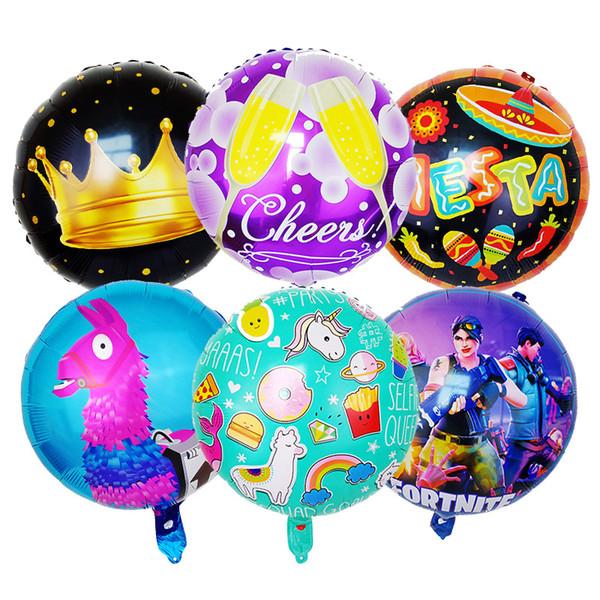 18inch Fortnite Balloons Unicorn Pesta Crown inflatable Game Theme Coating Aluminium helium foil Ballons Room Decor Wedding supply KidsGift