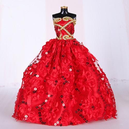 Rouge Mode Princesse Doll Couronne Robe de mariée Noble Parti robe de soirée de boule de partie longue robe jupe Vêtements pour Bridal Veil Accessoires Doll